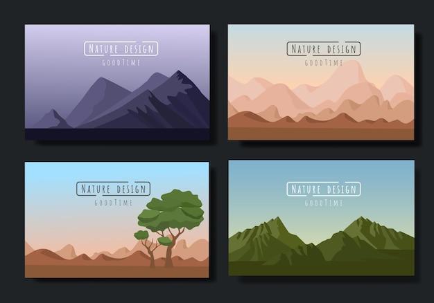 Ensemble de vecteurs de paysages, style plat.