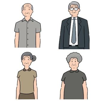 Ensemble de vecteurs de personnes âgées