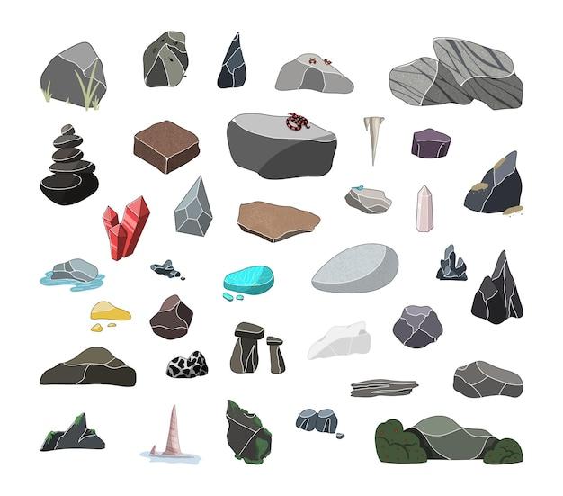 Ensemble de vecteurs de pierres de différentes races. minéraux, pierres précieuses.