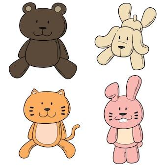 Ensemble de vecteurs de poupées animales
