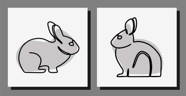 Ensemble de vecteurs premium en ligne continue de lapin art oneline