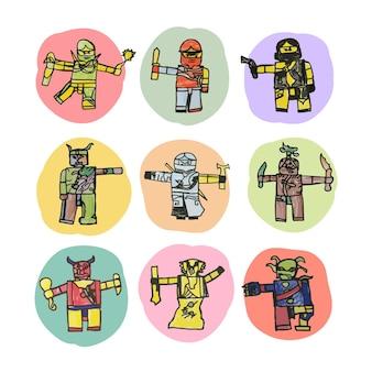 Ensemble de vecteurs de robot dessinés à la main