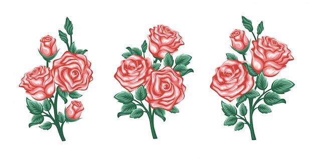 Ensemble de vecteurs de roses branches isolé sur fond blanc.