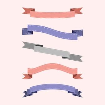Ensemble de vecteurs de ruban coloré