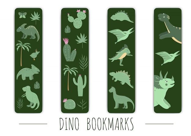 Ensemble de vecteurs de signets mignons avec des dinosaures verts.