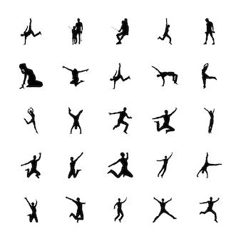 Ensemble de vecteurs de silhouettes de sports de plein air