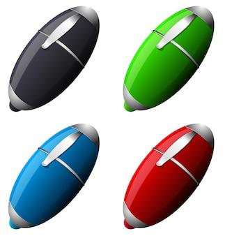 Ensemble de vecteurs de stylos de couleur eps 10