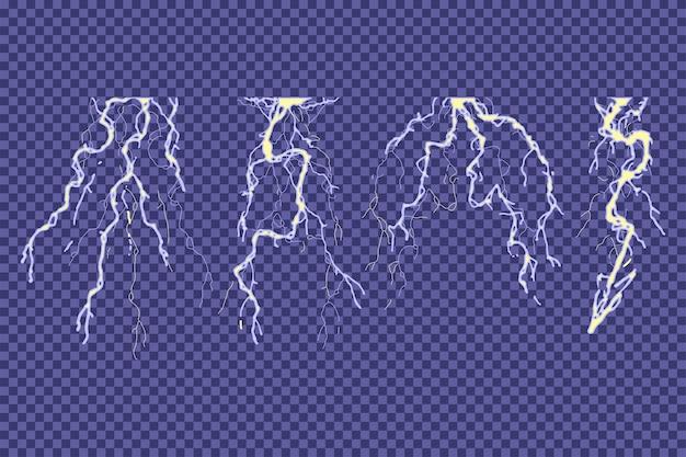 Ensemble de vecteurs de tonnerre et de flash isolé sur un fond transparent.
