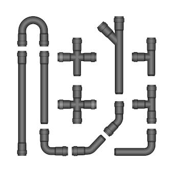 Ensemble de vecteurs de tuyaux en plastique isolé sur blanc