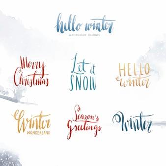Ensemble de vecteurs de typographie aquarelle hiver