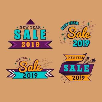 Ensemble de vecteurs de vente 2019 nouvel an badge
