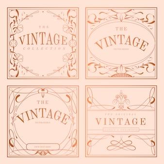 Ensemble de vecteurs vintage rose or art nouveau badge