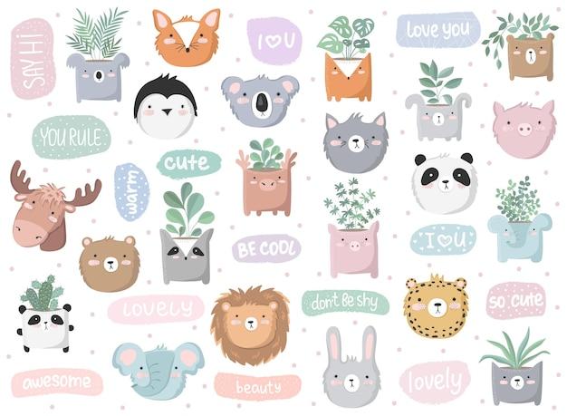 Ensemble vectoriel d'affiche mignonne avec un animal drôle et un texte mignon anniversaire de la saint-valentin