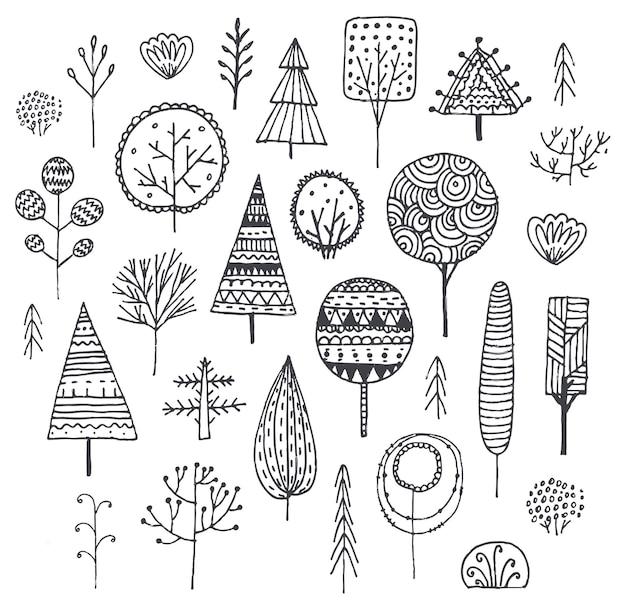 Ensemble vectoriel d'arbres dessinés à la main, de buissons, de plantes décorées de motifs. ensemble de griffonnage