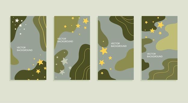 Ensemble vectoriel d'arrière-plans abstraits avec espace de copie pour les modèles de couverture d'affiches de bannières lumineuses de texte