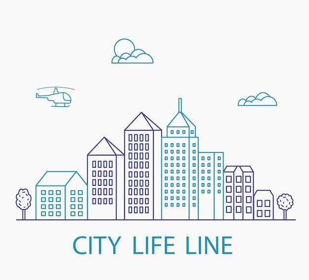Ensemble vectoriel de bâtiments urbains linéaires et d'illustrations de maisons et de panneaux architecturaux. pour la conception de sites web, cartes de visite, invitations et flyers sur le thème urbain avec un graphisme de mode linéaire.