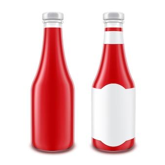 Ensemble vectoriel de bouteille de ketchup aux tomates rouges en verre blanc pour la marque