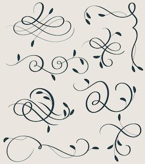 Ensemble vectoriel de calligraphie décorative s'épanouir art diviseur avec des verticilles décoratifs vintage pour la conception.