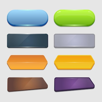 Ensemble vectoriel coloré de boutons et de cadres de jeu. éléments pour les applications mobiles. options et fenêtres de sélection, paramètres du panneau.
