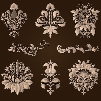 Ensemble vectoriel d'éléments décoratifs damassés. éléments abstraits floraux élégants pour le design. parfait pour les invitations, les cartes, etc.
