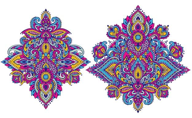 Ensemble vectoriel d'éléments floraux au henné basés sur des ornements asiatiques traditionnels. collection de griffonnages de tatouage paisley mehndi