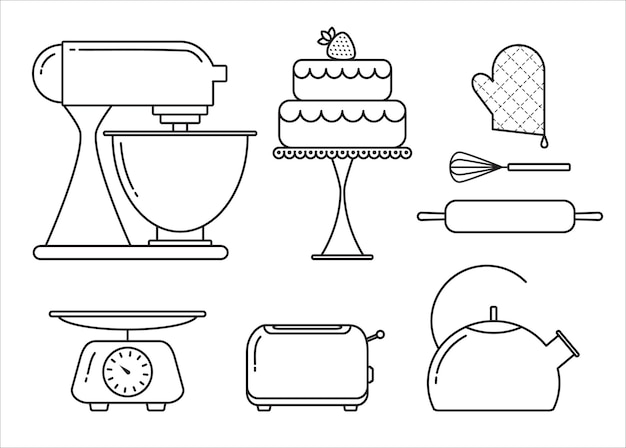 Ensemble vectoriel d'éléments pour la boulangerie dans un style linéaire branché