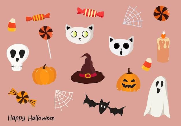 Ensemble vectoriel d'éléments pour halloween avec une citrouille fantômes heureux inscriptions halloween toiles d'araignée