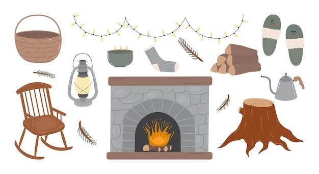 Ensemble vectoriel d'éléments vintage et de décoration pour l'intérieur de la maison de la cabine confortable