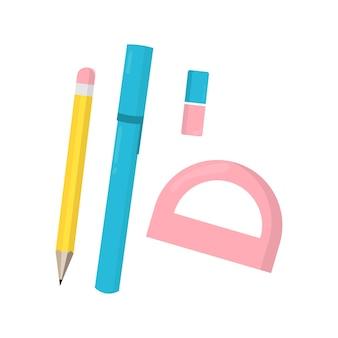 Ensemble vectoriel de fournitures et d'articles pour l'école
