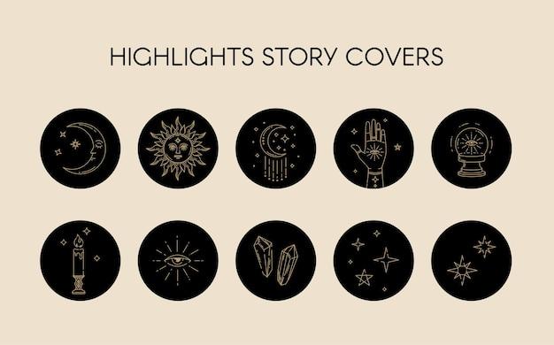 Ensemble vectoriel d'icônes et d'emblèmes pour les histoires célestes des médias sociaux mettant en évidence les couvertures