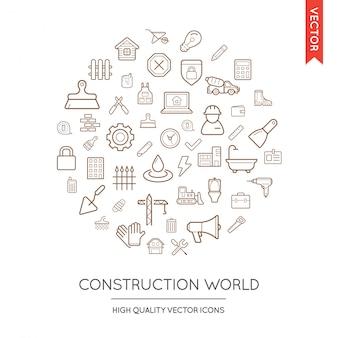 Ensemble vectoriel d'icônes minces plates modernes de construction inscrites en forme ronde