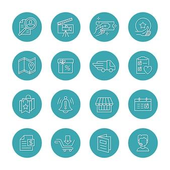 Ensemble vectoriel d'icônes rondes isolées pour les faits saillants et les catégories
