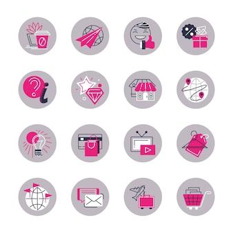 Ensemble vectoriel d'icônes rondes isolées, stylisées pour les femmes.