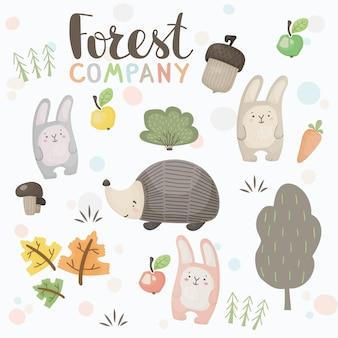 Ensemble vectoriel de lièvres, hérisson, gland et éléments décoratifs en style cartoon