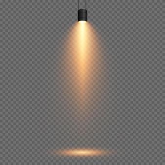 Ensemble vectoriel de lumière source de lumière murs d'éclairage de studio png lumière dorée jaune spot d'éclairage projecteur png rayons effet de lumière
