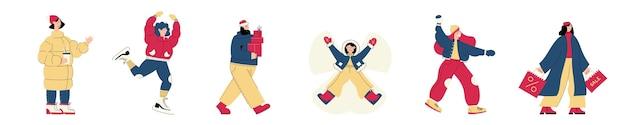 Ensemble vectoriel de personnages de personnes avec des scènes d'activité de vacances et d'hiver sur le marché de noël ou une foire en plein air de vacances