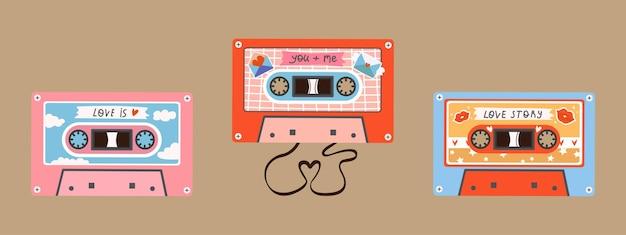 Ensemble vectoriel de trois cassettes audio rétro vintage de chansons d'amour d'amour