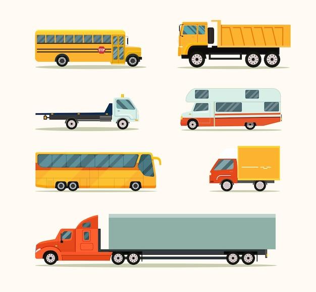 Ensemble de véhicules. illustration vectorielle style plat