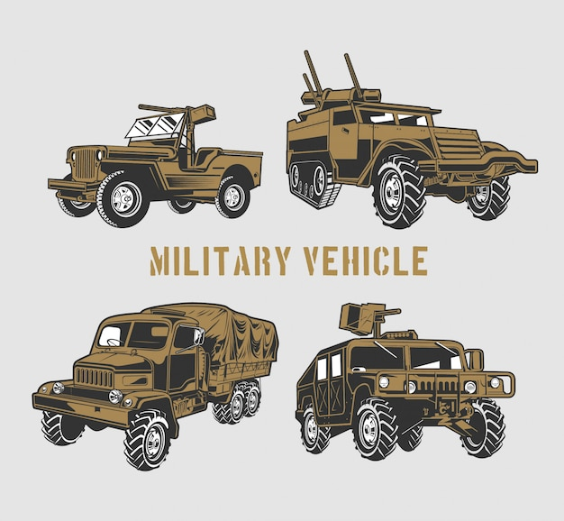 Ensemble de véhicules militaires