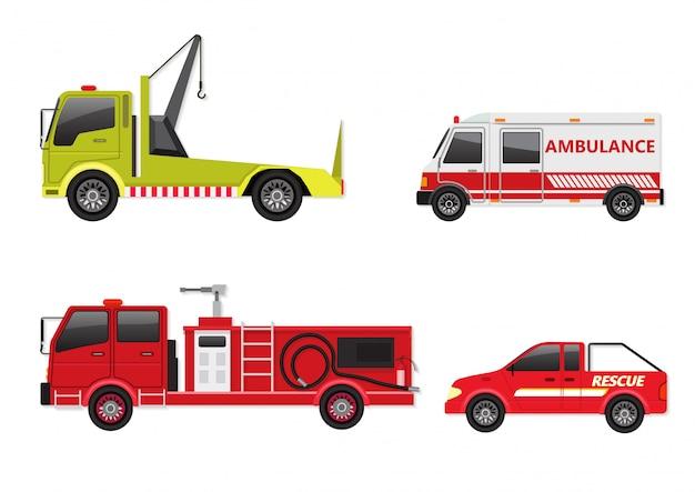 Ensemble de véhicules d'urgence isolé sur blanc.