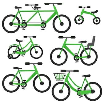 Ensemble de vélos vectoriels verts cartoon plat comprenant tandem, vélo avec panier et siège bébé