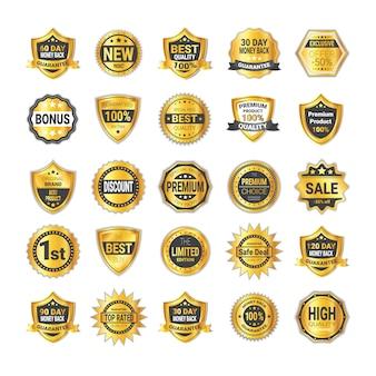 Ensemble de vente de badge doré shopping ou collection de boucliers de haute qualité isolé
