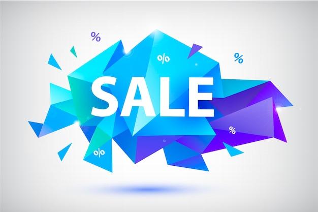 Ensemble de vente bannières géométriques à facettes, affiches, cartes. formes abstraites de remise. utilisation pour la publicité, le web