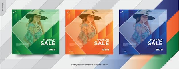 Ensemble de vente instagram post conception de modèle de publication de médias sociaux