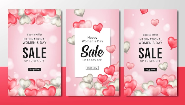 Ensemble de vente de la journée des femmes heureux