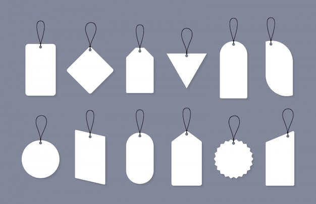 Ensemble de vente vide ou étiquettes de prix sous différentes formes. ensemble d'étiquettes vierges pour remise, vente, étiquettes de prix.
