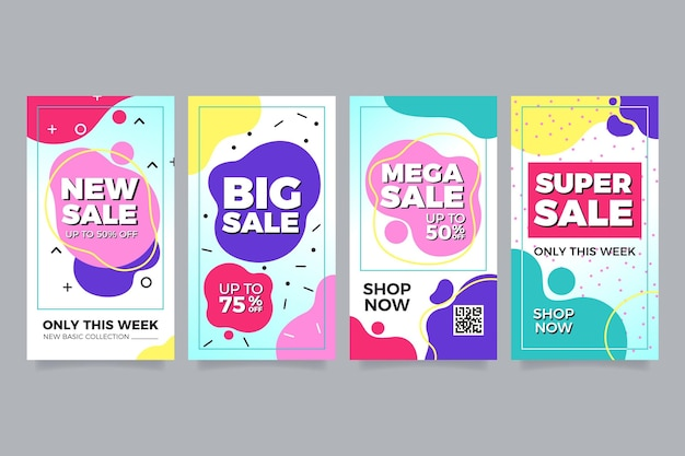 Ensemble de ventes colorées pour instagram