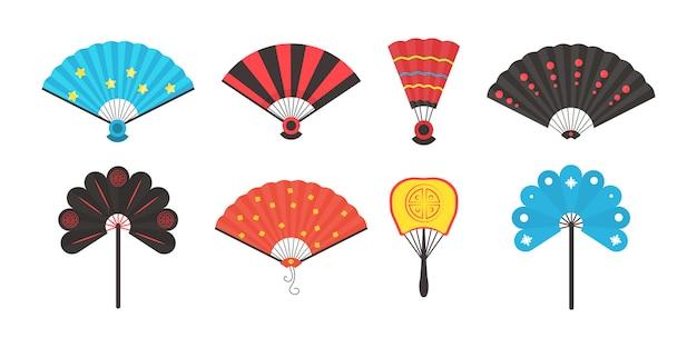 Ensemble de ventilateur traditionnel de main colorée isolé sur fond blanc. éventail chinois et japonais ouvert et fermé en style cartoon. illustration dans un style plat.