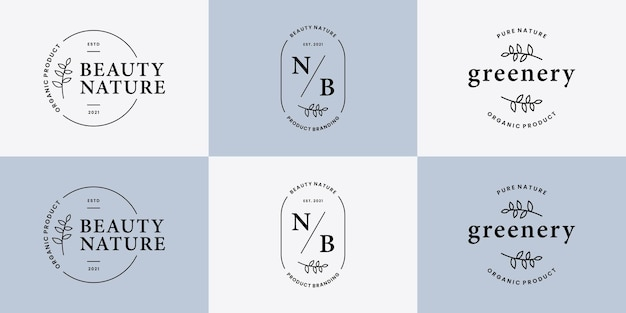 Ensemble de verdure botanique, insigne de conception de logo floral feuillage pour mariage, boutique