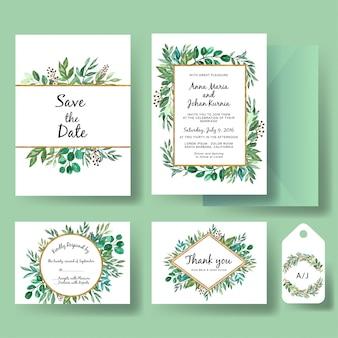 Ensemble de verdure d'invitation de mariage et feuille d'or